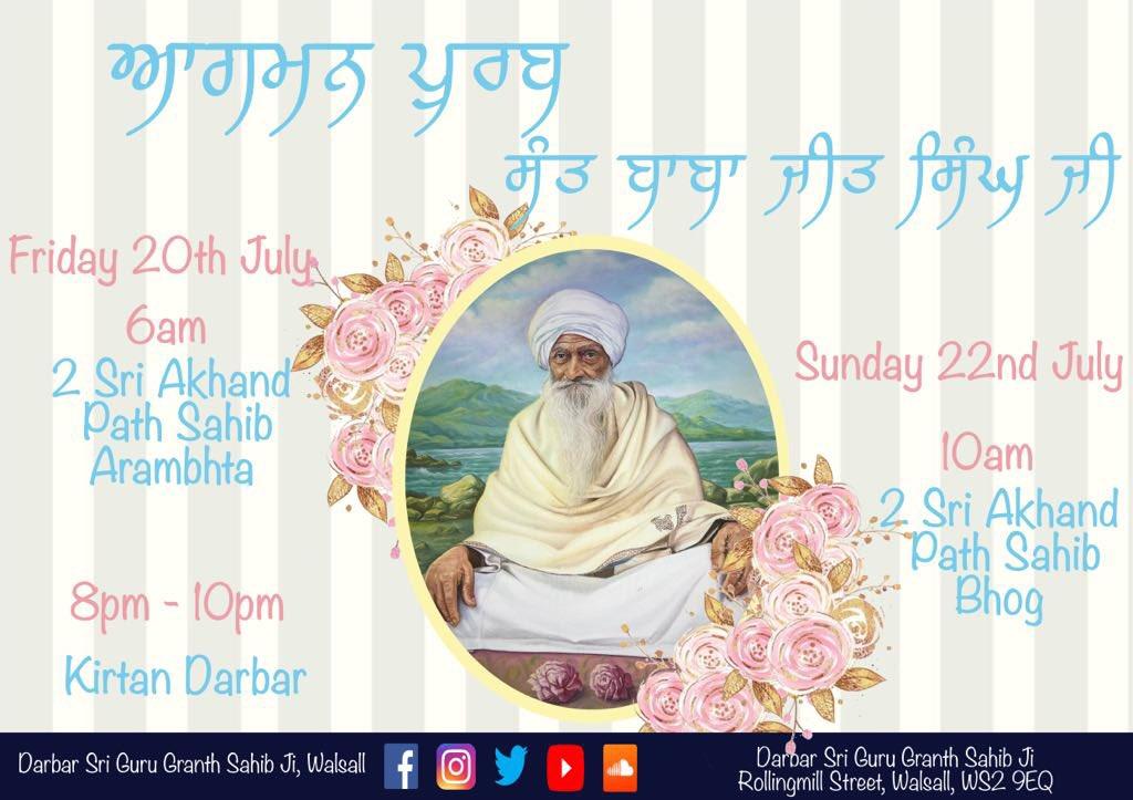 Less than a week to go till Vadhe Baba Ji, Sant Baba Jeet Singh Ji's Aagman Purb 🙏🏽