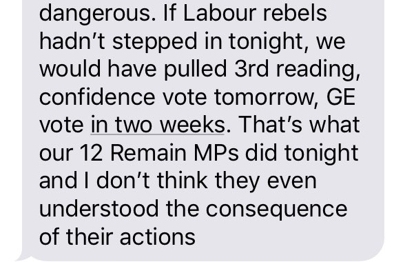 This is what Field, Mann, Hoey, Hopkins and Stringer averted tonight, according to well-placed Tory source. You'll either love them or not!