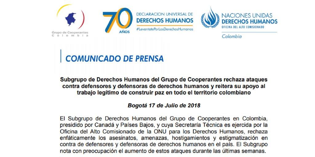 Les membres du sous-groupe des droits de la personne, incluant le Canada en tant que co-président, rejetent les attaques contre les défenseurs des droits humains en #Colombie  http:// www.hchr.org.co/index.php/informacion-publica/comunicados-de-prensa/427-ano-2018/8937-subgrupo-de-derechos-humanos-del-grupo-de-cooperantes-rechaza-ataques-contra-defensores-y-defensoras-de-derechos-humanos-y-reitera-su-apoyo-al-trabajo-legitimo-de-construir-paz-en-todo-el-territorio-colombiano  - FestivalFocus