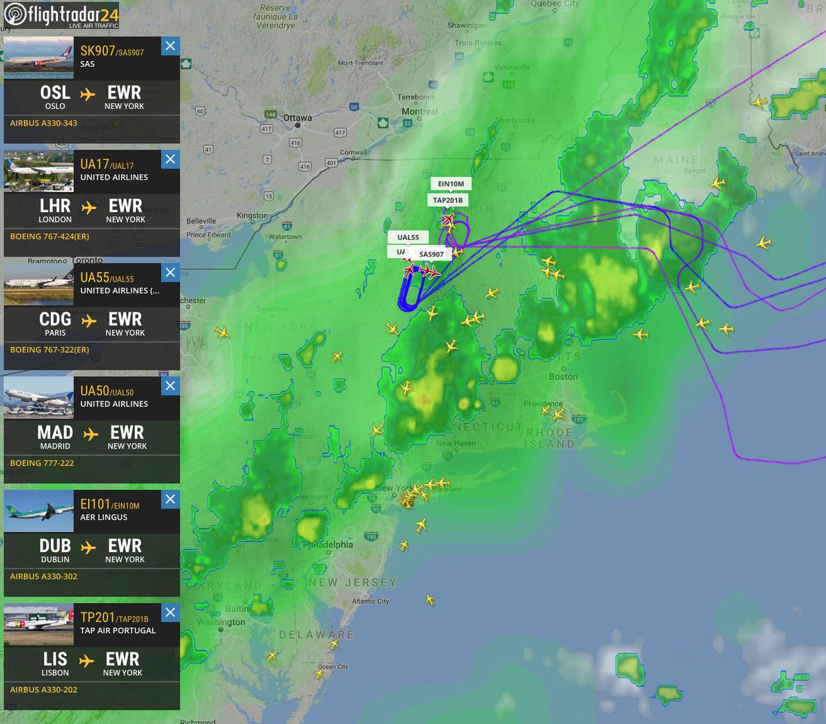 And intercontinental flights enjoying scenic update New York and Vermont, waiting for storms to pass at Newarkhttps://t.co/XlooazF4v8.