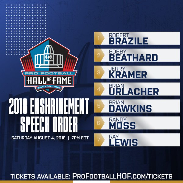 Just Announced: The official speech order for the 2018 Enshrinement Ceremony on Aug. 4th #PFHOF18