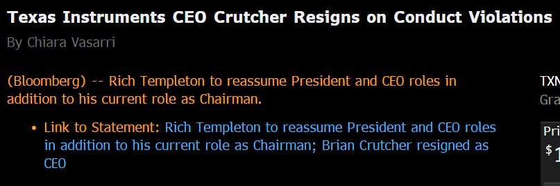 BREAKING: Another top exec resigns from a top company (Texas Instruments) because of code-of-conduct violations