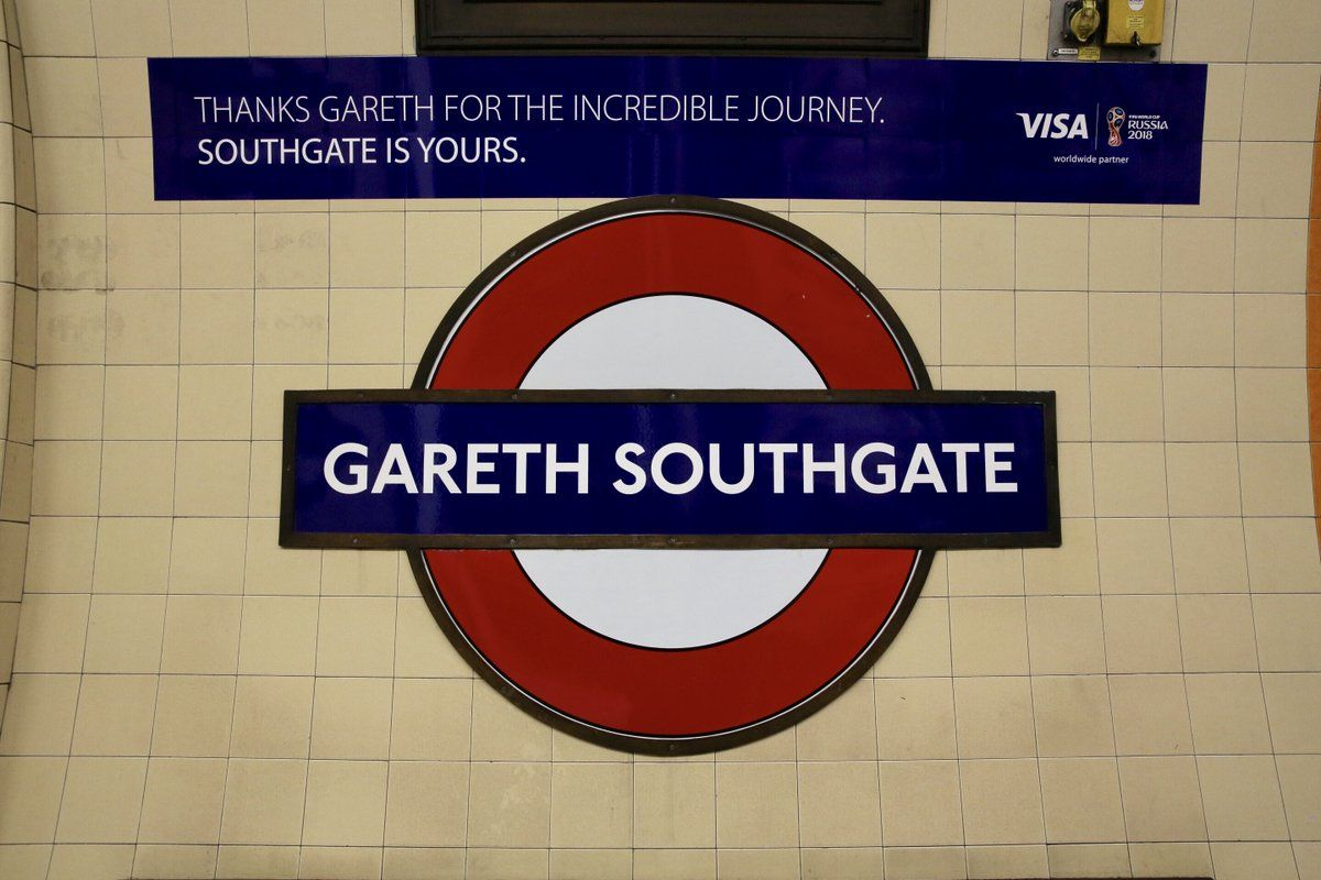 Visa renames Southgate tube station 'Gareth' to welcome England football team home https://t.co/aT6377WMSI