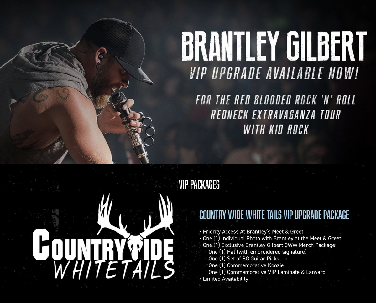 Brantley gilbert brantleygilbert twitter vip upgrades are now available for the red blooded rock n roll redneck extravaganza with kidrock head to httpbrantleygilbert now to m4hsunfo