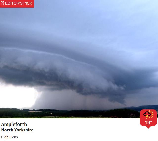 😯👇Wow! A ferocious cumulonimbus cloud swirls over Ampleforth, North Yorkshire, yesterday. Photo by Weather Watcher, High Lions. Want to join in? It's easy to sign up here: https://t.co/F6iVSZugYU Jo