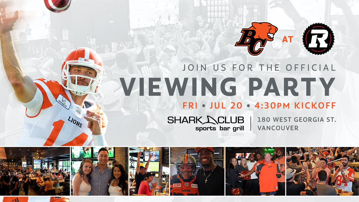 Plans Friday? It's our first road viewing party of the season! 🎉 🙌  Cheer on your #BCLions at @sharkclubyvr as we battle the @REDBLACKS   Win 🎁's, enjoy 🍔 and 🍺 specials plus meet some players!   The fun begins at 4PM with kickoff at 4:30!   INFO 👉🏻 https://t.co/DcChlGZczq