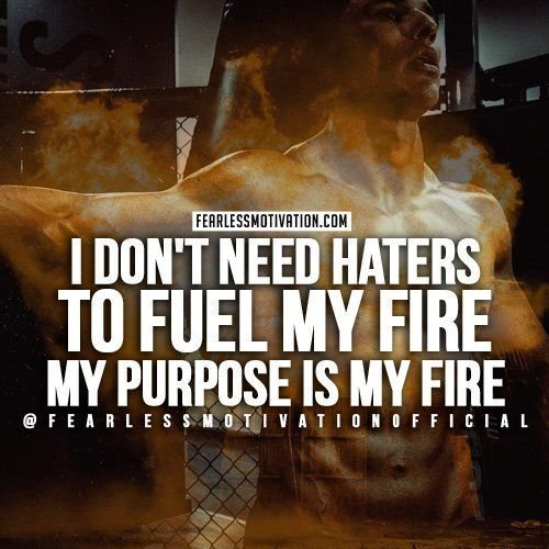 I dont need HATERS to fuel my fire. My PURPOSE is my fire! My FAMILY is my FIRE!
