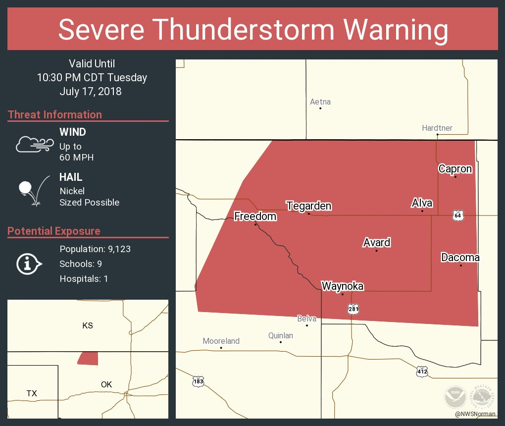 Freedom Oklahoma Map.Nws Severe Tstorm On Twitter Severe Thunderstorm Warning Continues