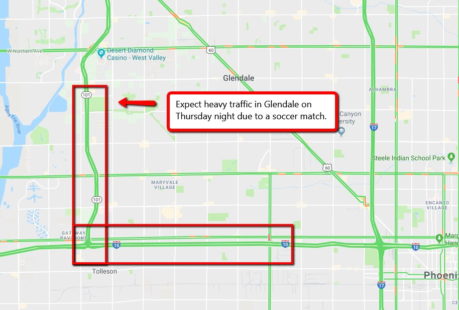 ICYMI: Drivers in Glendale Thursday night may expect heavier-than-normal traffic on the L-101 and I-10 due to a soccer match at University of Phoenix Stadium. You can read more about it here: https://t.co/NhJLhXskot