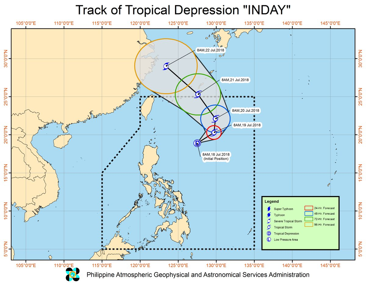 The low pressure area East of Northern Cagayan has developed into a tropical depression and was named '#IndayPH'.  https://t.co/HEIALQFrMl