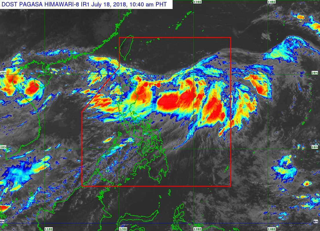 At 10:00 AM today, the center of Tropical Depression '#IndayPH' was estimated  at 660 km ESE of Basco, Batanes (19.0 °N, 128.1 °E) Strength:Maximum sustained winds of 55 kph near the center and gustiness of up to 65 kph Forecast Movement:moving East at 15 kph