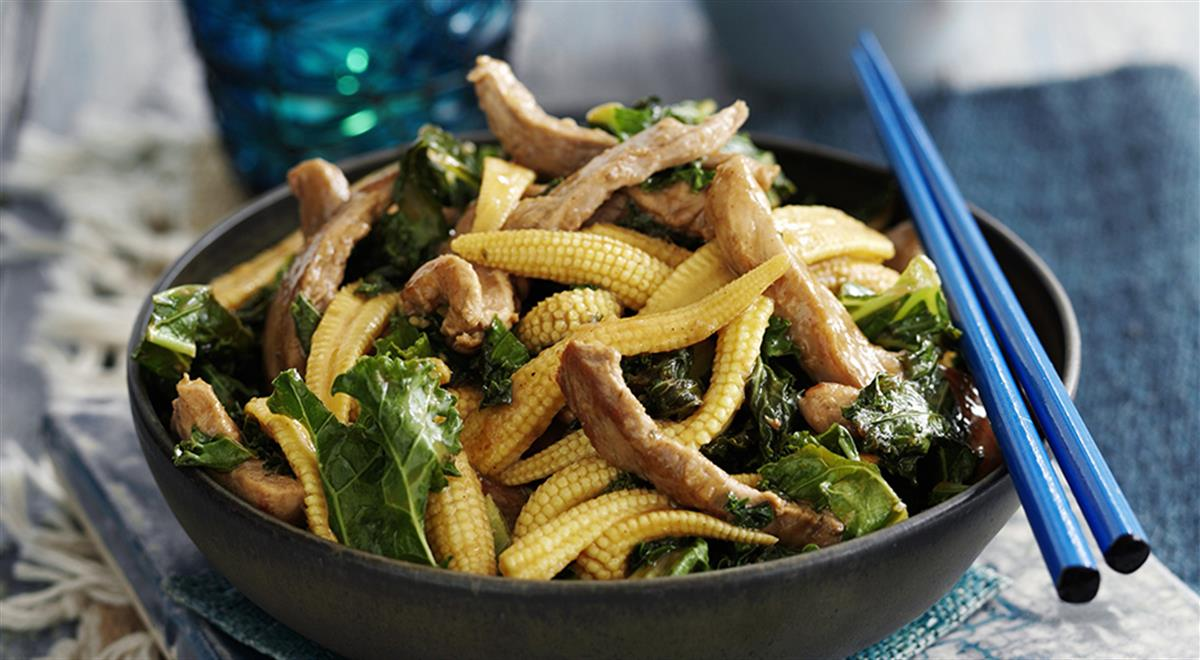 Teriyaki Pork with Baby Corns and Kale https://t.co/mUmEHbQO8a #yummy #food https://t.co/chRYy1dRKK