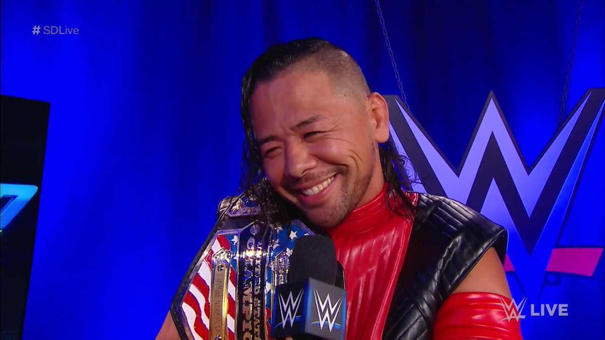 New #USChampion @ShinsukeN doesn't feel too sad for @JEFFHARDYBRAND... HE'S ALL SMILES! #SDLive