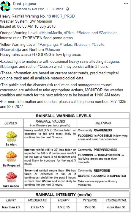 Heavy Rainfall Warning No. 19 #NCR_PRSD Weather System: SW Monsoon Issued at: 08:00 AM 18 July 2018