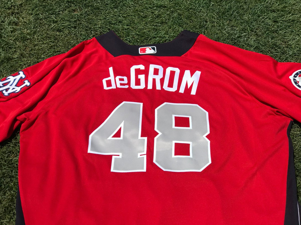 Here is deGrom! 🔥🔥🔥  RETWEET for a chance at his replica #AllStarGame jersey!