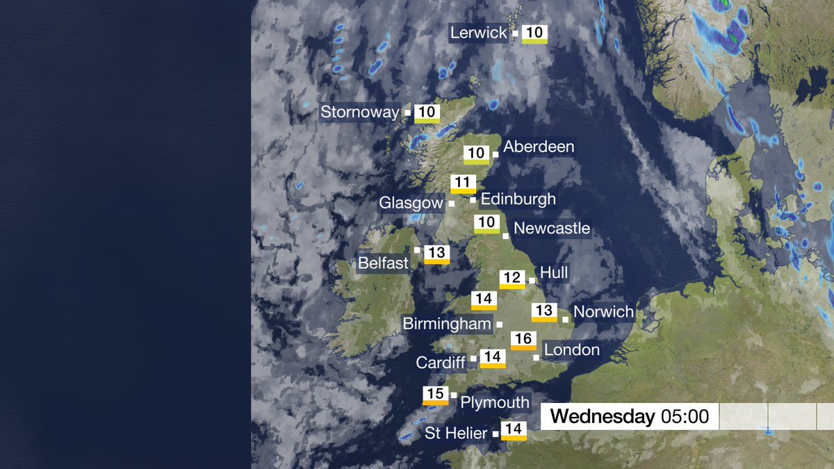 Tonight: Showers will tend to linger across N Scotland. Apart from the odd showers across western UK, most places will be dry with clear skies. Cool across some parts of Scotland and N England, but mild in the south. Stav D