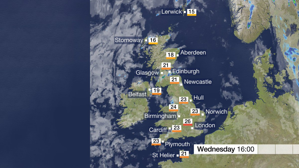 Wednesday: Apart from a few showers across the north and west of the UK, most places will be dry with sunny spells once again. Feeling a bit warmer too. Stav D