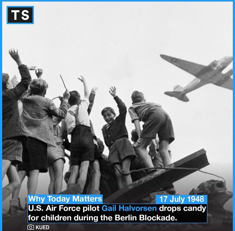 """Gail Halvorsen was a pilot that founded """"Operation Little Vittles"""", an effort to raise morale in Berlin by dropping candy via miniature parachute to the city with no authorization from his superiors. He became a national hero with support from all over the United States?#OTD #WW2"""