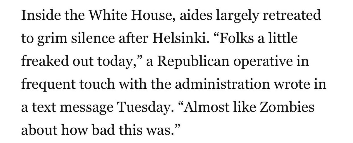 "After Helsinki, White House aides were ""almost like Zombies"" as they struggled w the aftermath. Part of the problem? A fractured communications teams, where no one knows who's in charge, and a president who initially offered little clarity. https://t.co/RUK57hgPlb"