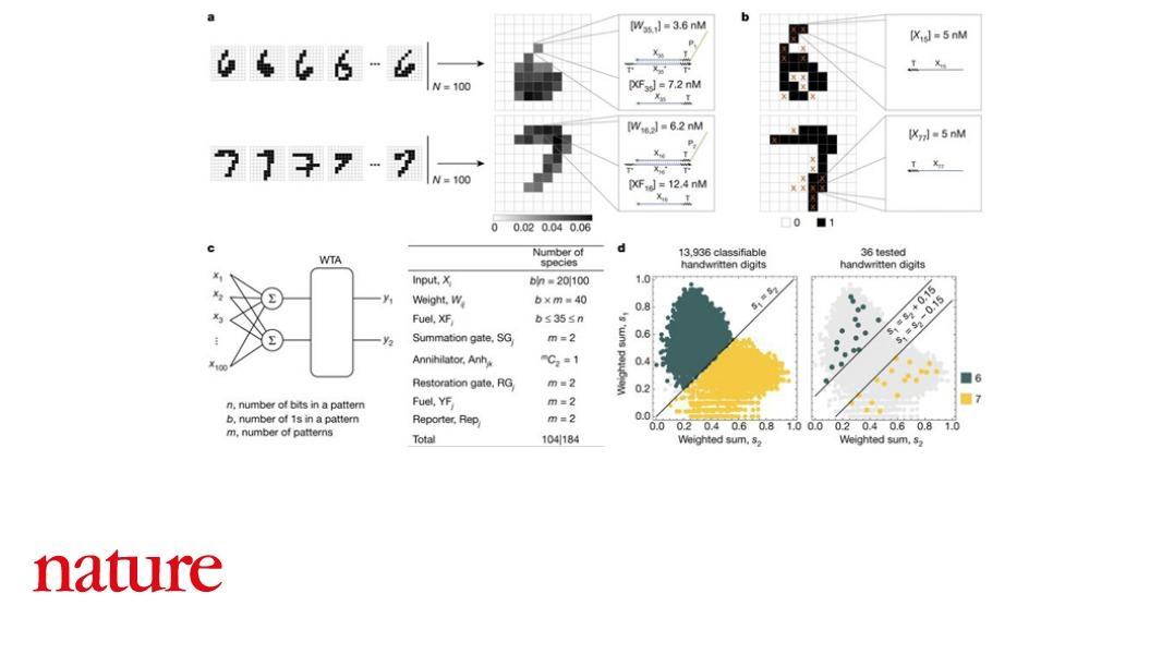Research published in Nature describes an artificial neural network made out of DNA that can solve a classic machine learning problem: correctly identifying handwritten numbers. The work is a step towards programming AI into synthetic biomolecular circuits https://t.co/fxilei0STK
