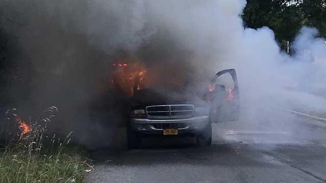 HELMET CAM: Canandaigua firefighter responds to vehicle fire (video)