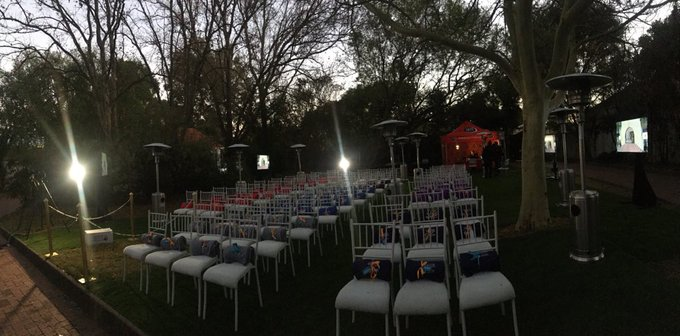[ON AIR] #BreakfastwithDavid live on this 100th birthday of Nelson Mandela on a chilly morning as we wait for the guest's arrival at the #MadibaHouseOfReflection as the sun comes up bright an early. Photo