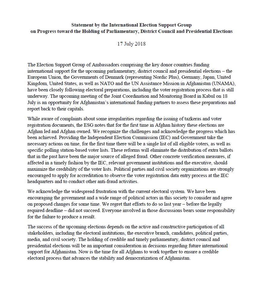 """""""Now is the time for all Afghans to work together to ensure a credible electoral process that advances the stability and democratization of Afghanistan"""" @EUinAfghanistan @UKinAfghanistan @USEmbassyKabul @UNAMAnews #ESG @NATOscr mobile.twitter.com/pajhwok/status…"""