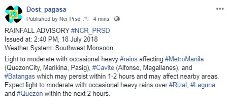 RAINFALL ADVISORY #NCR_PRSD  Issued at: 2:40 PM, 18 July 2018 Weather System: Southwest Monsoon