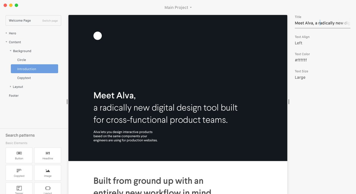 Alva, a new design tool, build to design interactive products on top of components used by engineers. https://t.co/ZM8oOyabXZ