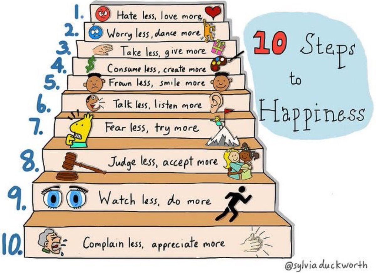10 Steps to Happiness by @sylviaduckworth  #Happiness #Infographics #HappyWednesday
