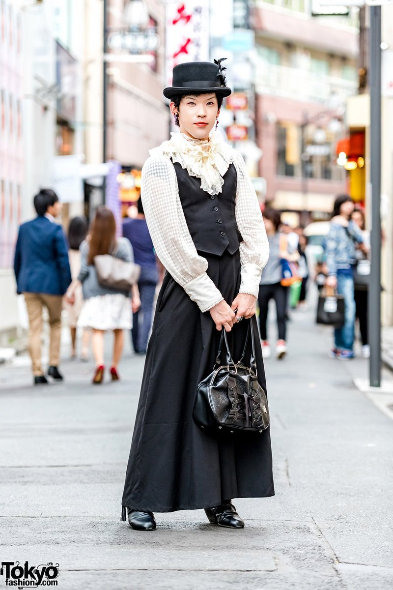 Ao-san on the street in Harajuku wearing a gothic style w/ Miho Matsuda vest over Alice and the Pirates ruffle shirt, Miho Matsuda maxi skirt, black heeled booties, Miho Matsuda handbag & hat  #原宿https://t.co/YtxabYqr3g