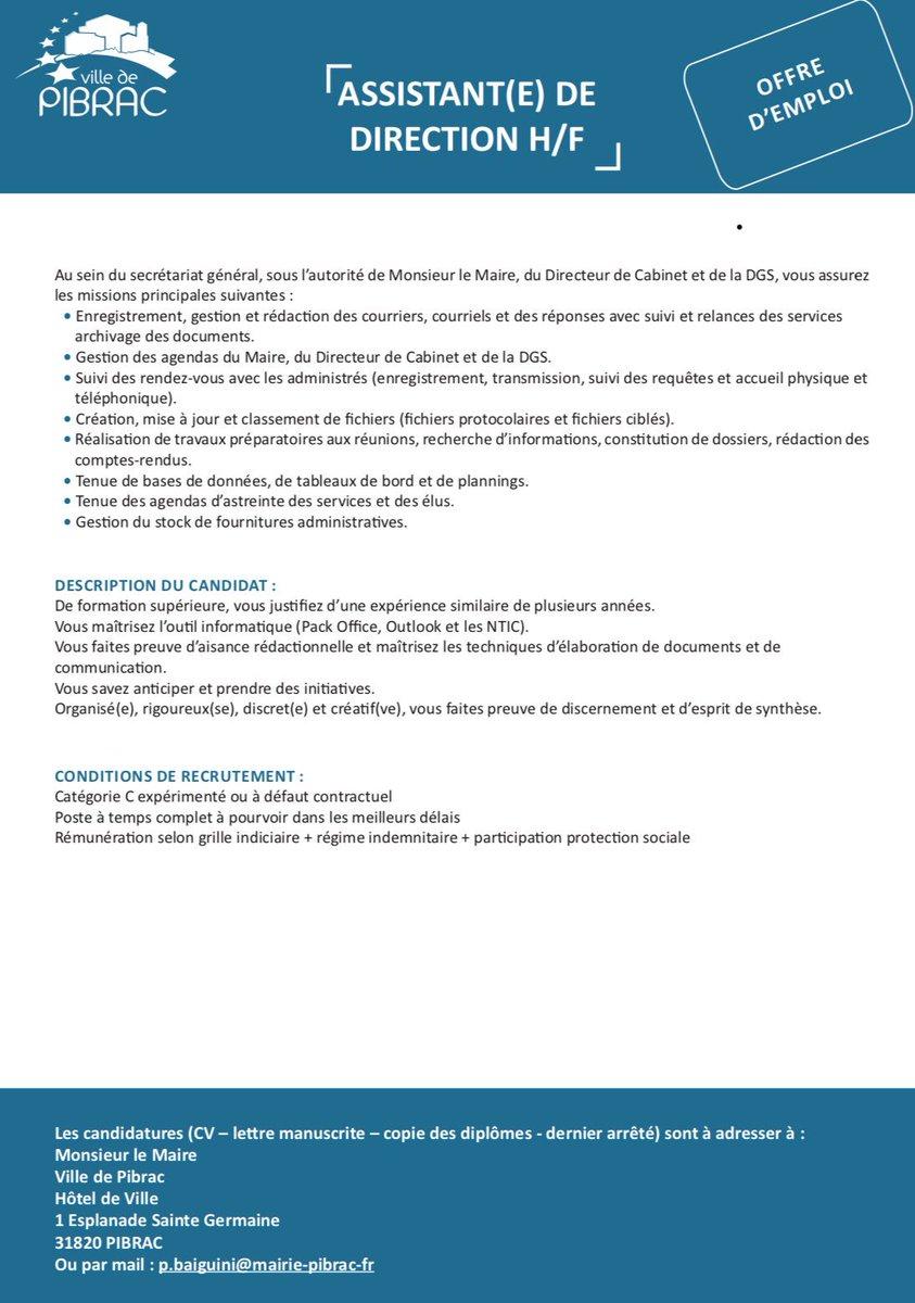 [#RECRUTEMENT] #OffreEmploi #CollTerr #HauteGaronne #Pibrac La Ville de Pibrac recrute un assistant(e) de #direction H/F.  - FestivalFocus
