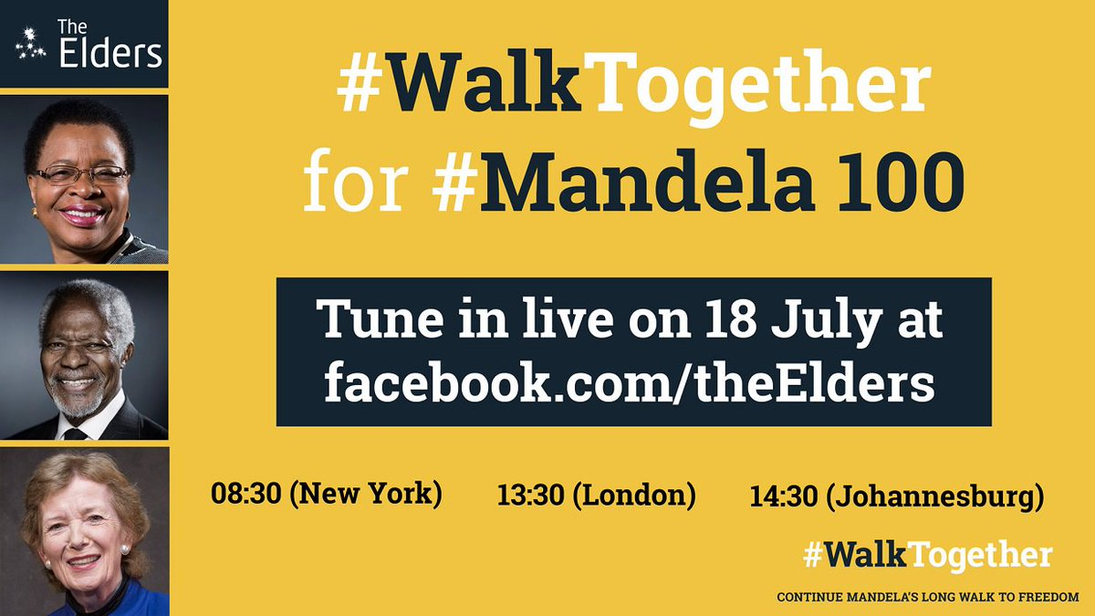 Excited to join @TheElders #WalkTogether for #Mandela100. Watch live today at 8:30am/NY, 1:30pm/London, 2:30pm/Joburg here: https://t.co/lAxINGBzi5