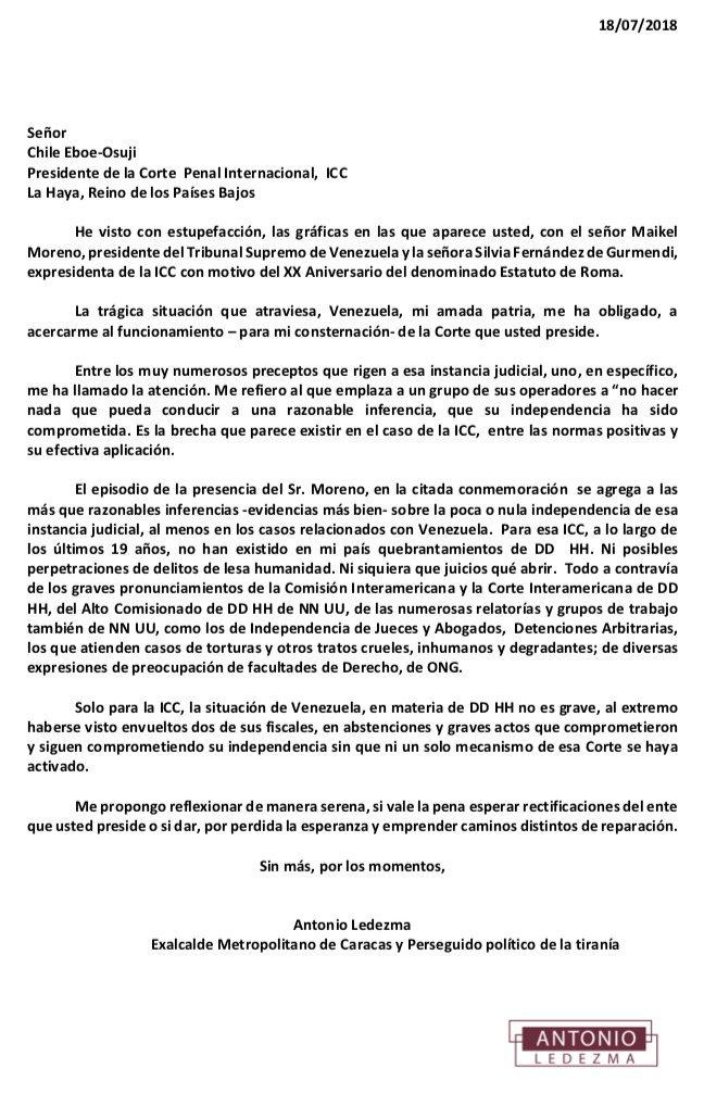 Comparto comunicación pública al Pte Corte Penal Internacional en La Haya.  Con la justicia no se hacen pactos ocultos ni se tolera que se le manchen sus estrados.   Venezolanos esperan no ser burlados después de padecer una tragedia.