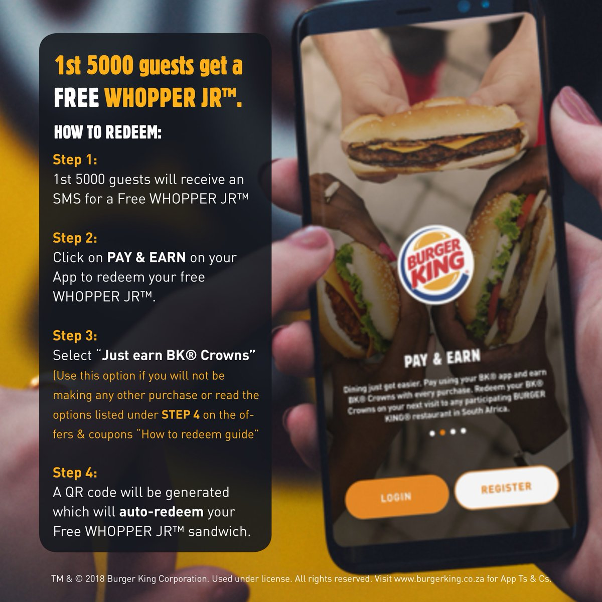Burger King South Africa On Twitter Google Play Store Https T Co Rztjmeqpku Apple Store Https T Co Ojid4vfbjd Download The Bk App And Start Saving Free Whopper Jr For The 1st 5000 Guests Ts Cs Apply