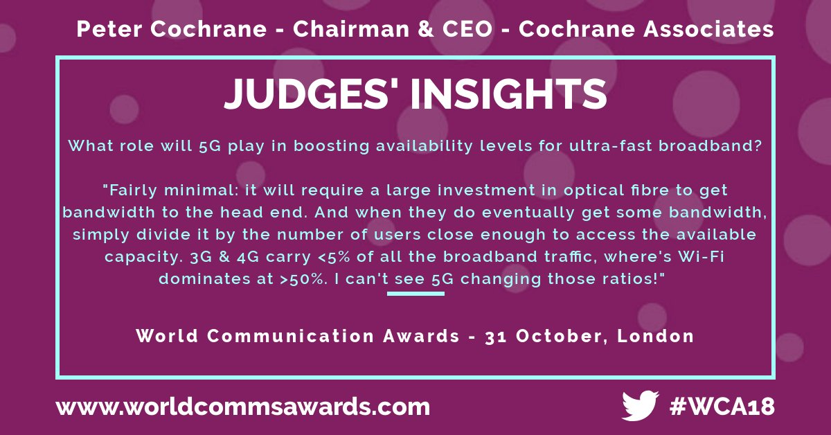 #WCA18 Judges' Insights: @PeterCochrane has his say on the role 5G will play in boosting availability levels for ultra-fast broadband.  Peter is just one of 50 judges at this year's World Communication Awards - book your table now to avoid disappointment: https://t.co/MWOf2CeuLu