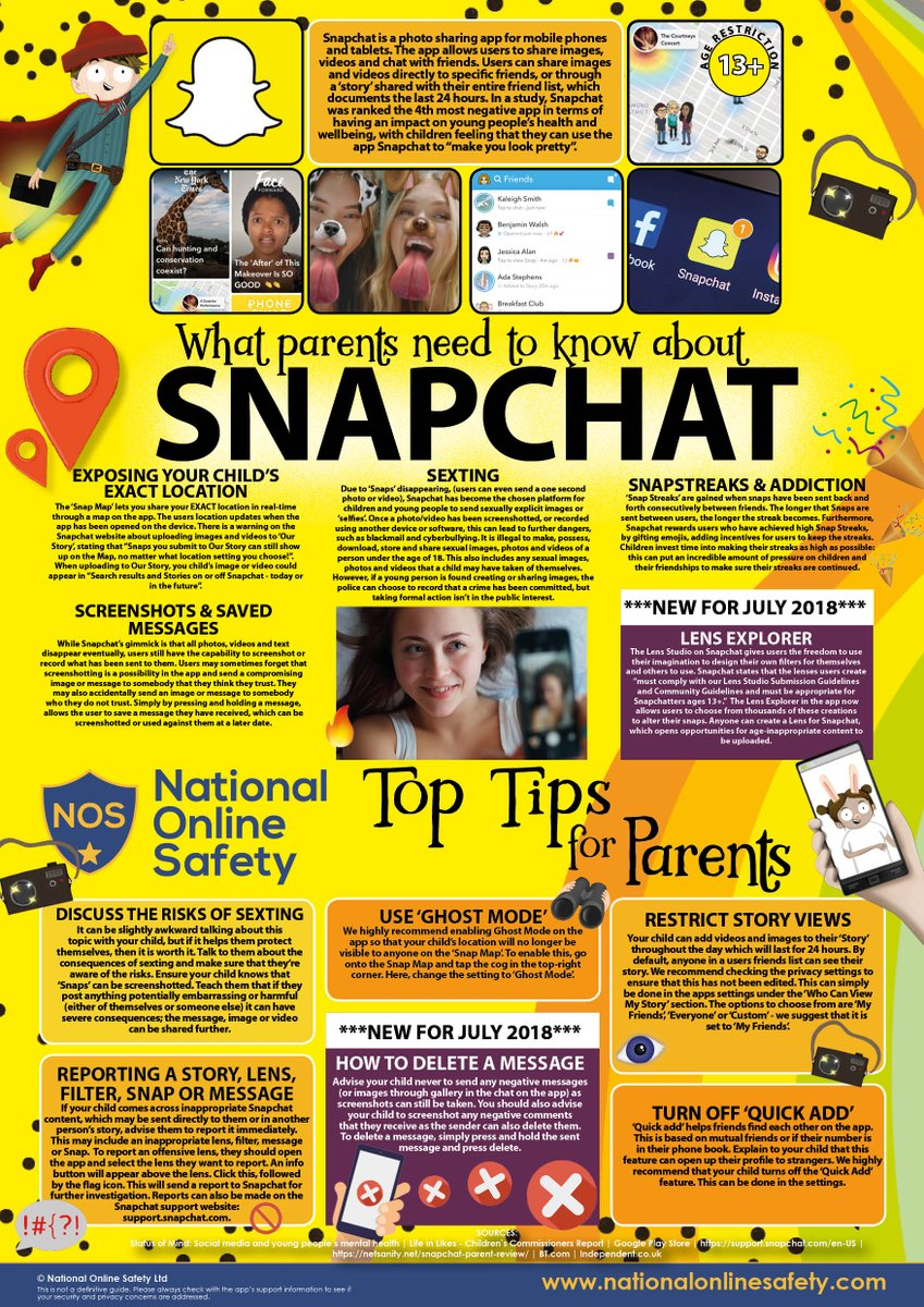The nation is getting 'snap happy' with the new Snapchat features! 👻 📸 This #WakeUpWednesday, we're highlighting the latest updates and associated risks on the platform. Download high res version here: https://t.co/BM6lI6Dxwn #WednesdayWisdom #OnlineSafety