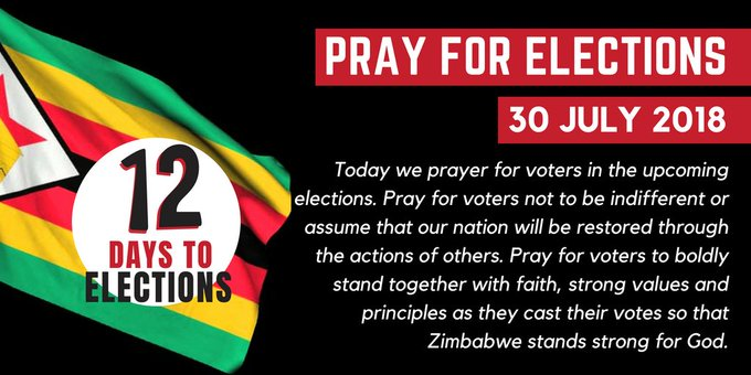 12 Days to #Elections Pray for voters to boldly stand together with faith, strong values and principles as they cast their votes so that Zimbabwe stands strong for God. Photo