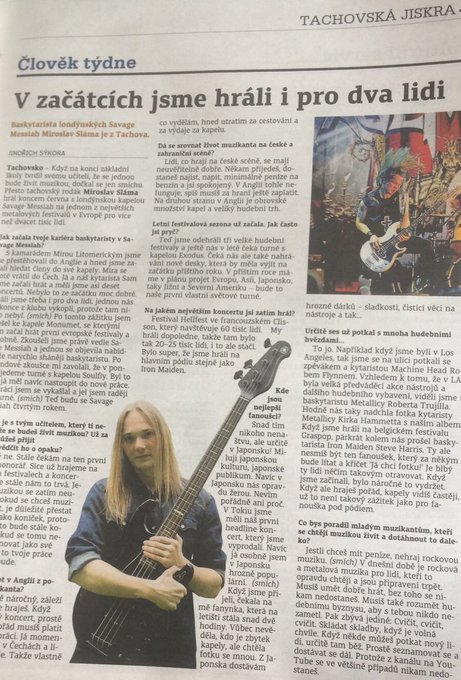"📰 ""Person of the week"" in czech newspapers. Mira talking about playing, touring and his love for Japan. ⚡️🎸 Photo"