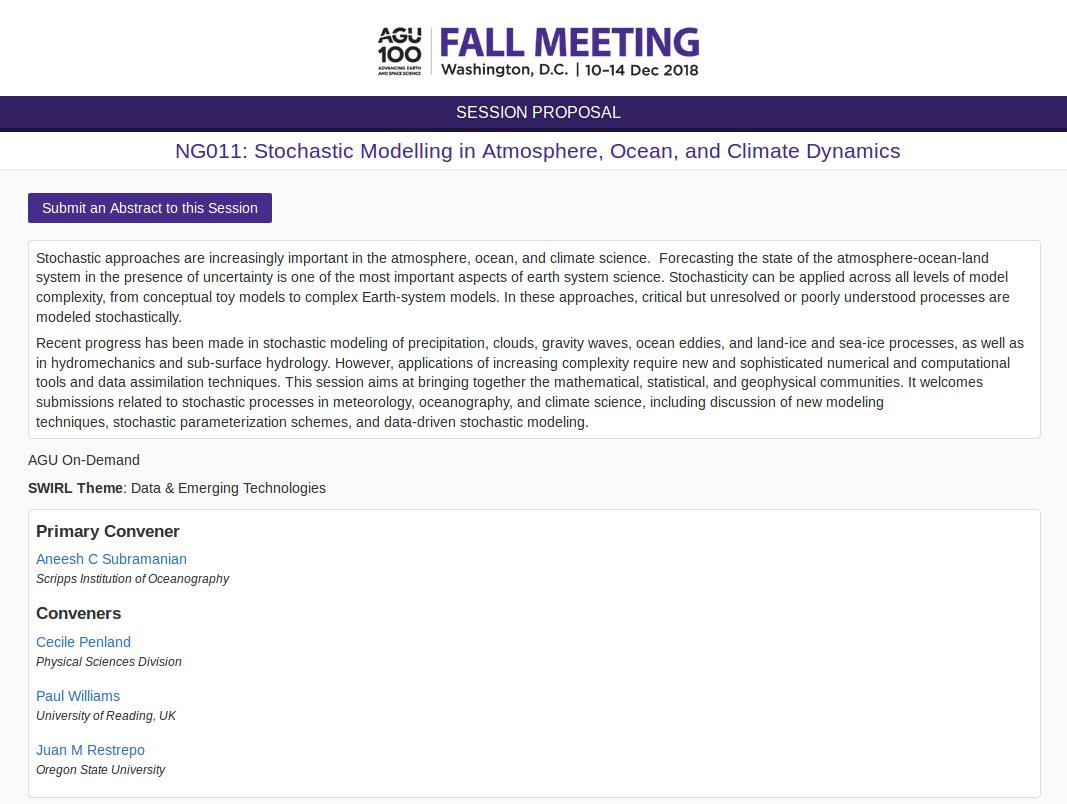 "Submit an abstract to our AGU 2018 session on ""Stochastic Modelling in Atmosphere, Ocean, and Climate Dynamics"". #AGU18 Deadline is Aug 1."