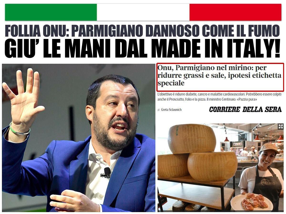 Parmigiano reggiano, ma anche prosciutto, olio, pizza e altre eccellenze italiane dannose come il fumo??? All'Onu sono MATTI, giù le mani dai prodotti italiani!