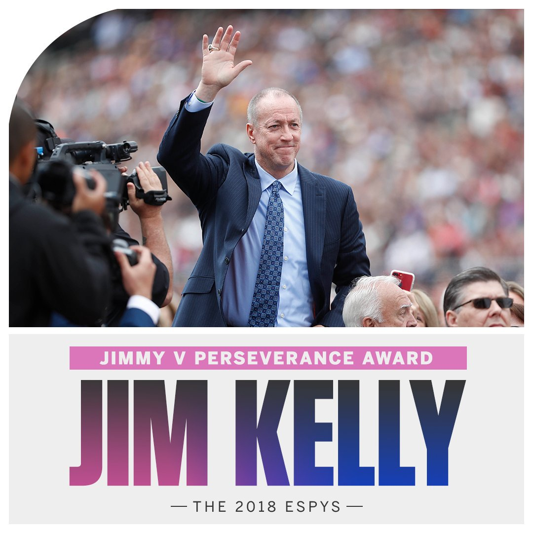 Jim Kelly will be honored with the Jimmy V Award for Perseverance tonight at the @ESPYS! 👊 #KellyTough   How to watch: https://t.co/GdAf4yxY8i