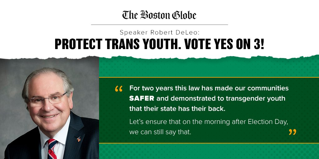 #ICYMI: @SpeakerDeLeo is urging  every MA voter to say #YesOn3 & preserve non-discrimination protections for our #transgender neighbors and friends. Read his op-ed in the @BostonGlobe: https://t.co/aWzd2psgqV #MApoli