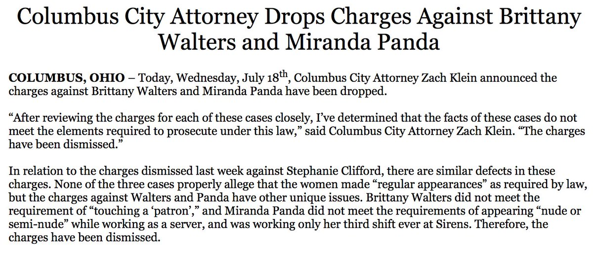 NEW: City attorney drops charges against two women arrested along with Stormy Daniels in Ohio; prosecutors dropped charges against Daniels last week. https://t.co/dRogN87dJl