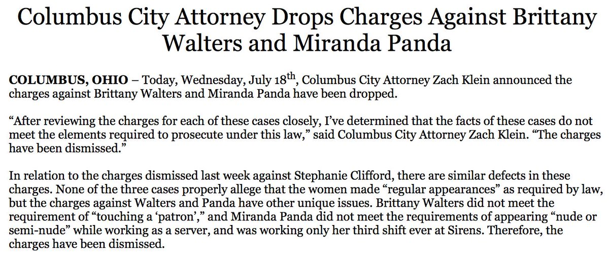 NEW: City attorney drops charges against two women arrested along with Stormy Daniels in Ohio; prosecutors dropped charges against Daniels last week. https://t.co/2Fegy4vIr2