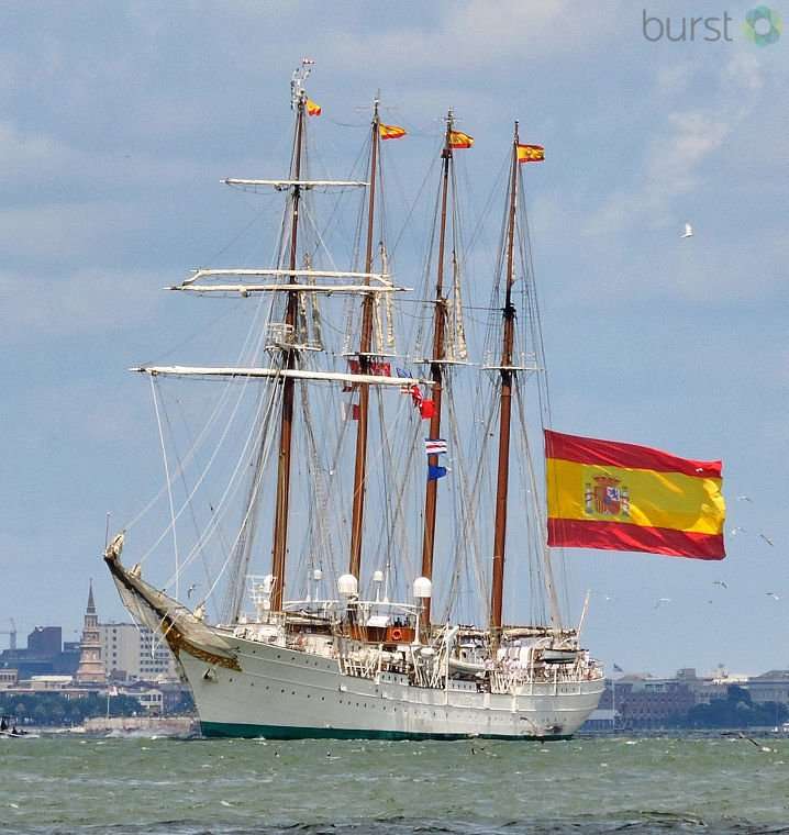 Safe travels! The Spanish Navy sailing ship docked in Charleston Harbor for the last week got underway back to its home port Tuesday. 📸: Bob Benson
