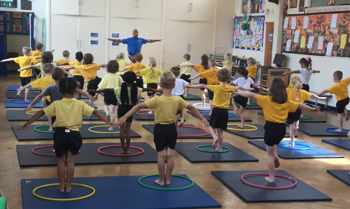 @RomileyPS Healthy week is in full swing. Here's our Reception class enjoying their Gymnastics session. Thank you Leandro!