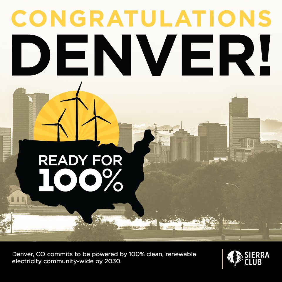 Denver Mayor Commits City To 100% Clean Electricity By 2030 sc.org/2LfJThB @cbsdenver #ReadyFor100