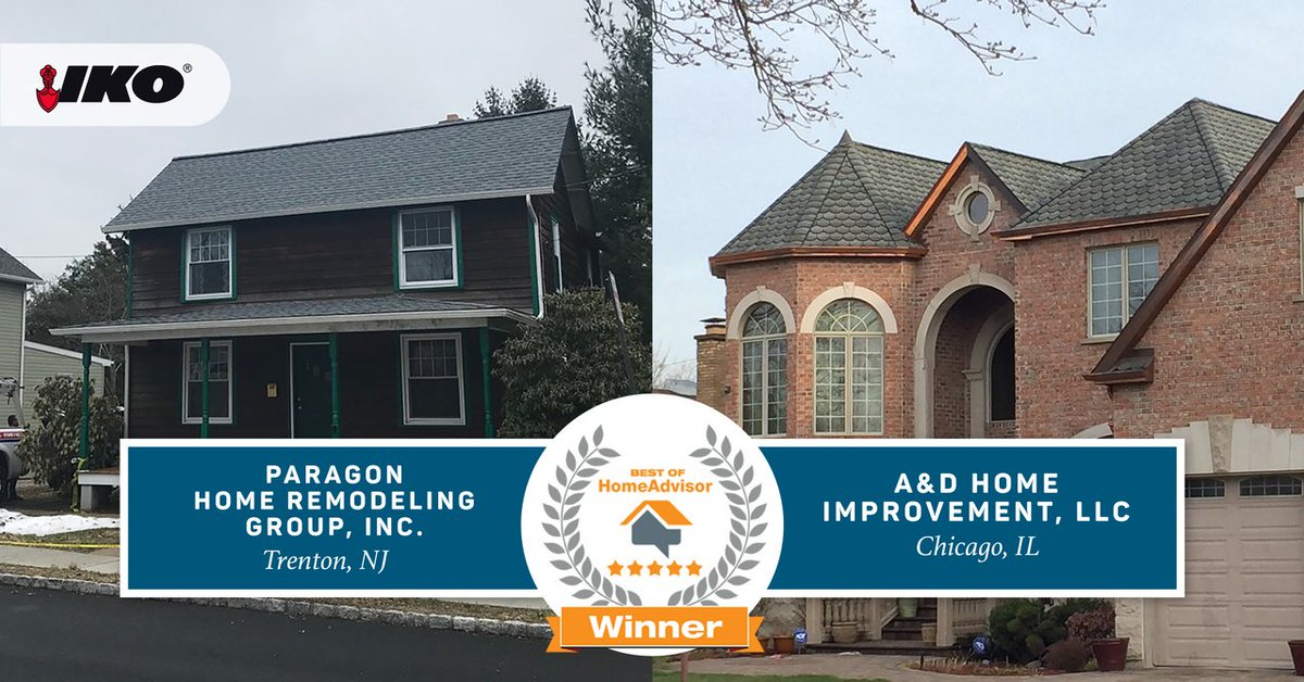 Iko Roofing On Twitter Congratulations To Paragon Home Remodeling Group And A D Improvement For Winning The Best Of Homeadvisor Award