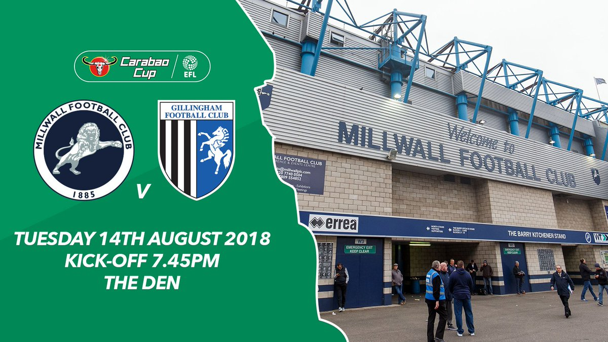 🏆 Join us at The Den as #Millwall begin their @Carabao_Cup campaign against @TheGillsFC. Tickets ➡️ bit.ly/2L8zkcM